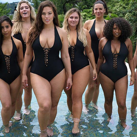 One Piece large sizes black swimwear
