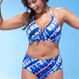 Plus Size Triangle High Waist Swimsuit