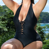 5Xl Plus Size One Piece Black Deep V