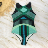 Striped Women One Piece Swimsuit