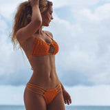 Bikini Swimwear Push up  Orange