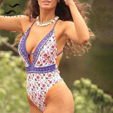 Floral print v-neck one piece swimsuit