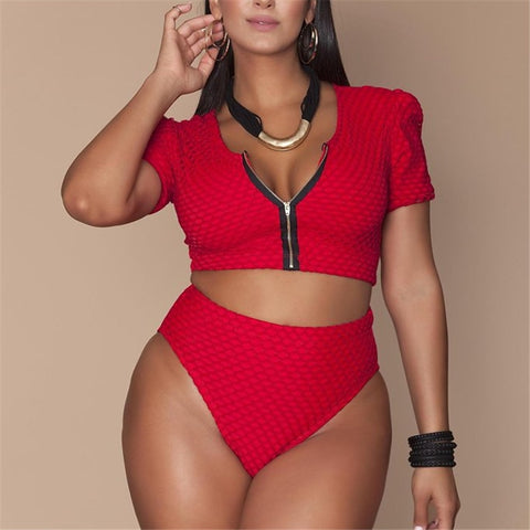 XL-4XL Plus Size Bikini Set Pad Zipper Front Swimsuit