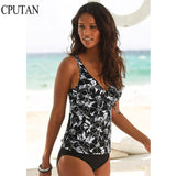 Tankini Set Plus Size Two Piece Vintage Floral Swimsuit