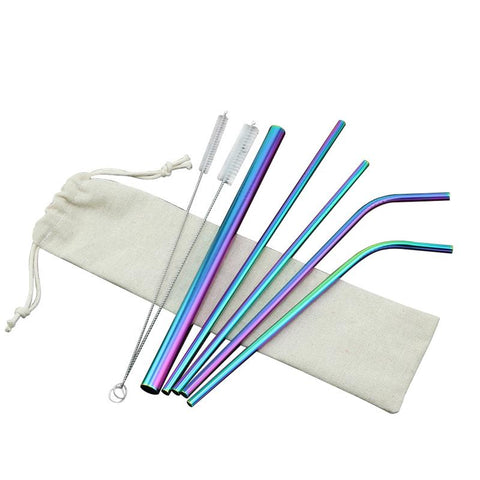 8PCS Stainless Steel Metal Drinking Beverage Straws Set Reusable Cleaning Brushes