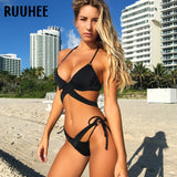 Bikini Set Push Up Sexy Cross Strap Beachwear