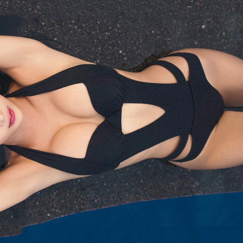 Black Halter Cut Out Bandage Trikini Swimsuit