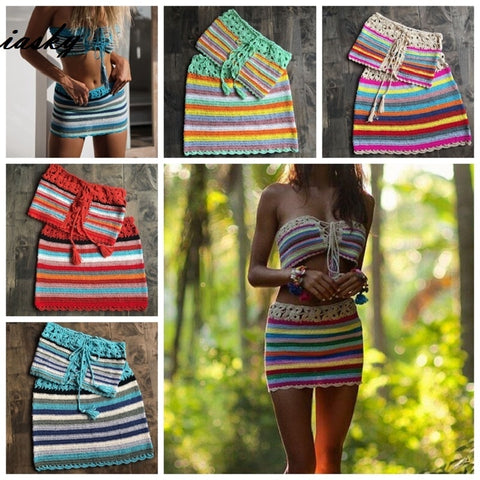 2PCS/Set handmade colorful striped crochet bikini top+ skirt beach cover up