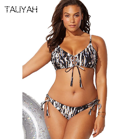 Big cup bikini  plus size push up low waist
