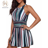 High neck Striped dress swimming suit