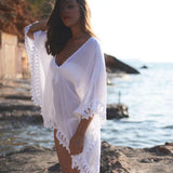 Solid Holiday Beach Wear Chiffon Lace Bikini Swimming Cover Up