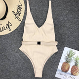 Buckle white bodysuit Push up High cut one piece swimsuit