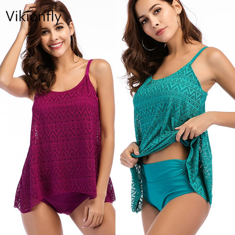 Two Piece Retro Swimsuit Tankini Set High Waist