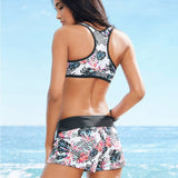 Two Piece Bikini Bandage Swimsuit Leaf Print