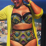 Plus Size Push Up Bikini Print Swimsuit Cut Out
