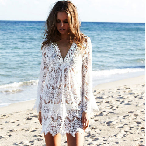 White Lace Crochet Beach Tunic V Neck Long Sleeve Bikini Cover Up Hollow Out Mini Beach Dress