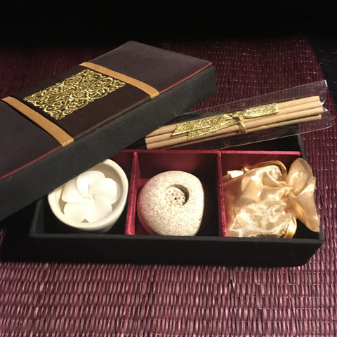 Candle | Incense Gift Box Set | Neroli scent in Red Thai Silk Lotus Box