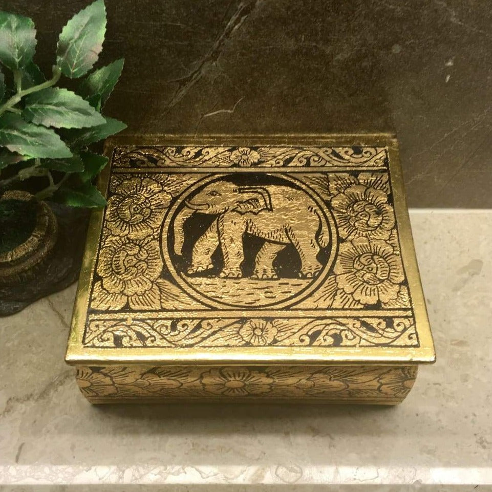 Elephant Jewelry Box | Gold Leafed Thai Traditional Lacquerware | Handmade - Size S - Thai Handicrafts