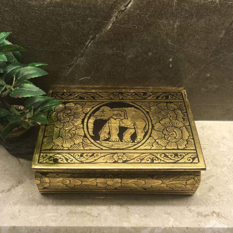 Elephant Keepsake Box | Jewelry Box | Gold Leafed Thai Traditional Lacquerware - L