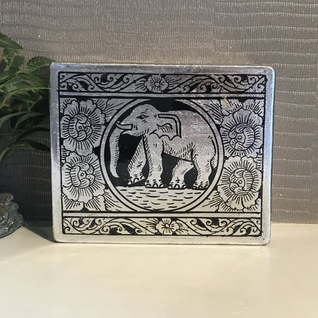 Elephant Keepsake Box | Silver-Leafed Thai Traditional Lacquerware | Handmade - Size S - Thai Handicrafts