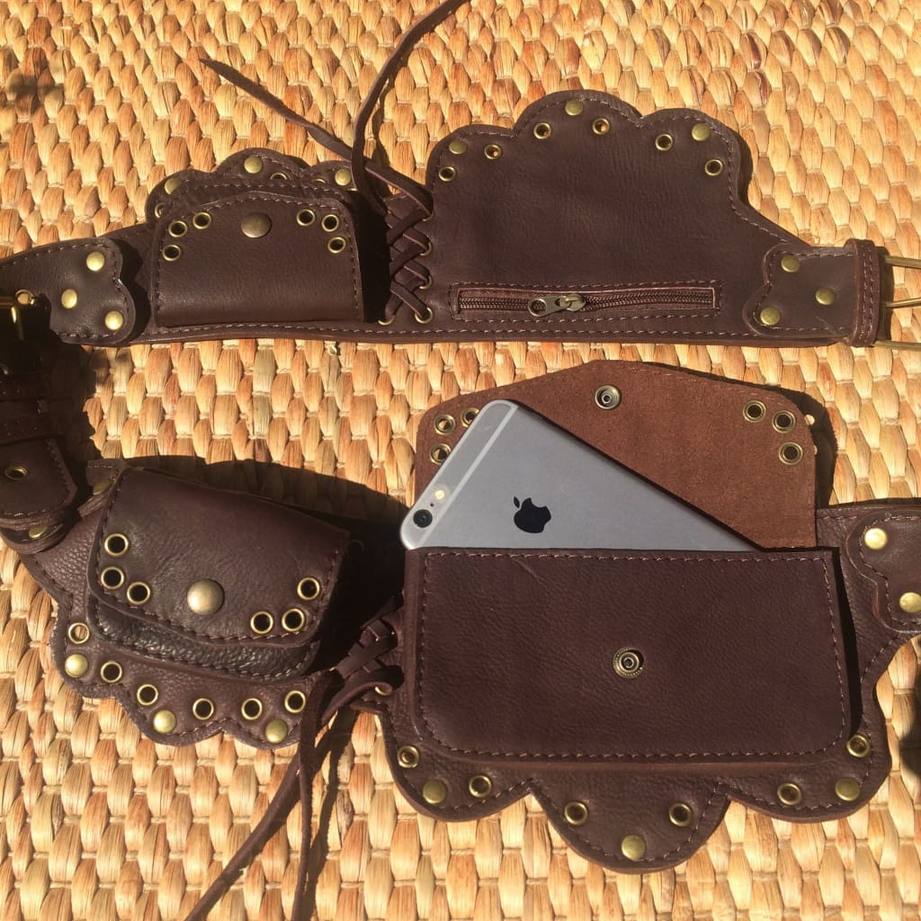 Festival Belt Bag | Leather Utility Belt | Steampunk Hip Purse - Lotus - Leather Utility Belt