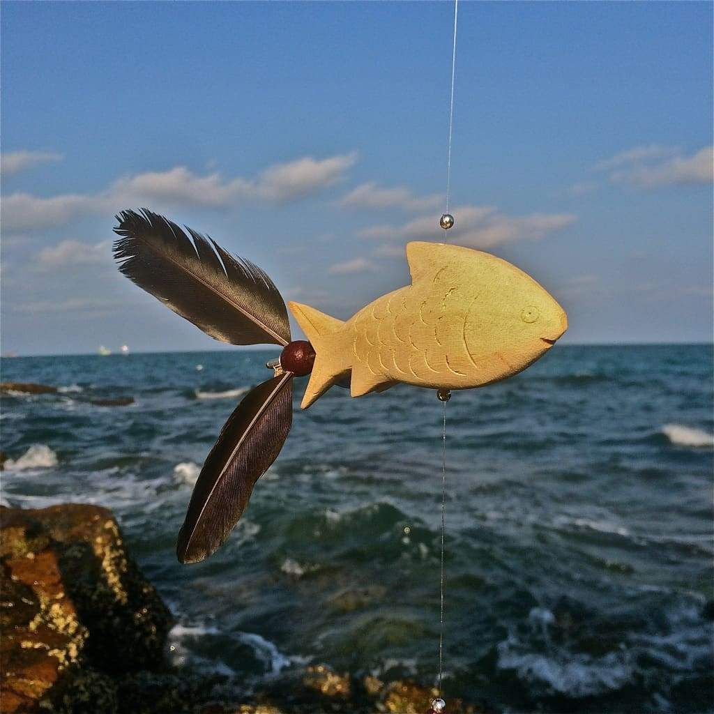 Flying Fish Wind Spinners Wood Mobile / Fly Fishing - Thai Handicrafts