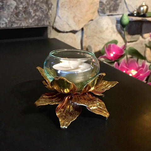 Gold Lotus Candle Holder | Tea Light Metal Art | 3 Inch