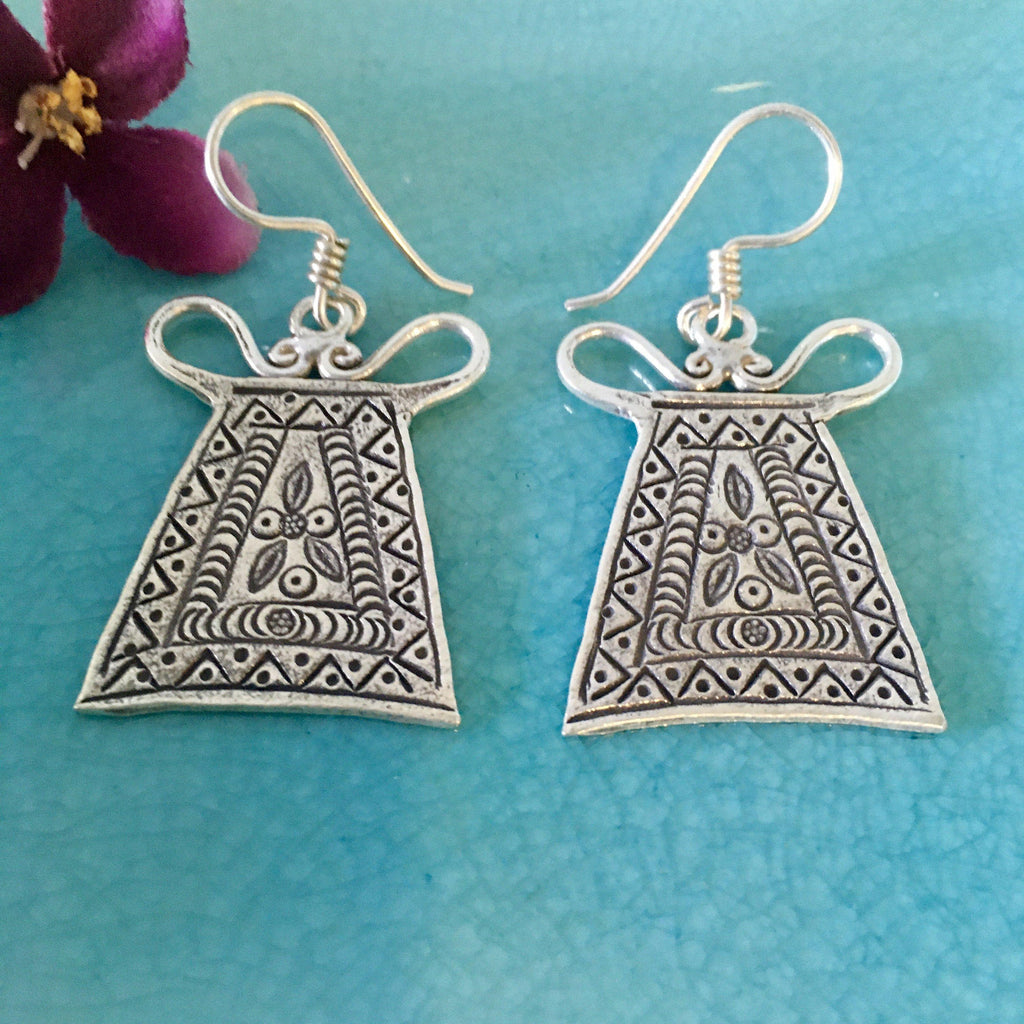 Hill Tribe Silver Earrings | Spirit Lock | Thai Karen 98.5% Silver-Thai Artist Collective