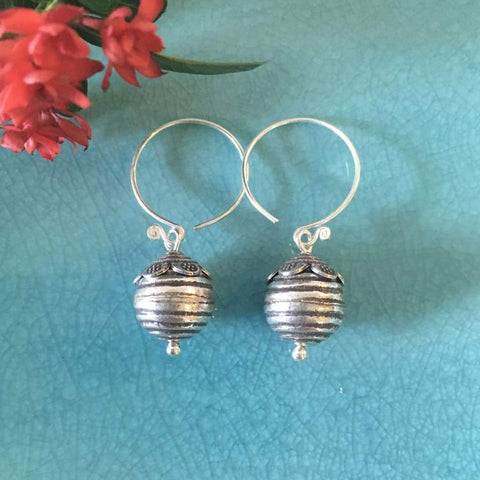 Hill Tribe Silver Earrings | Thai Karen Bee Hive w/ Circular Wire