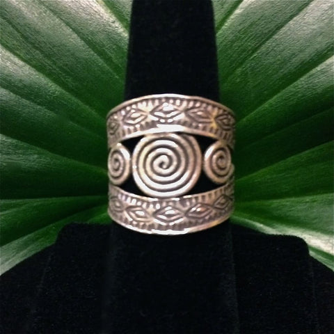 Hill Tribe Silver Ring - Thai Karen 3 Spiral Design 98.5 Silver
