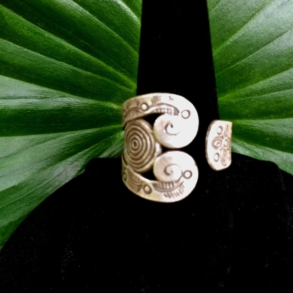Hill Tribe Silver Ring | Thai Karen Spiral Spoon Design | 98.5 Silver - Karen Hill Tribe Silver Ring
