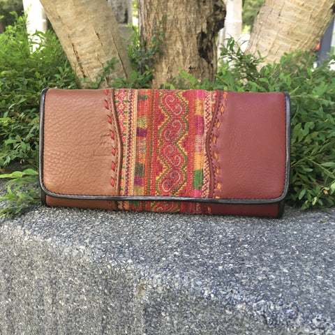 Hmong Hill Tribe Fabric &  Leather Long Wallet