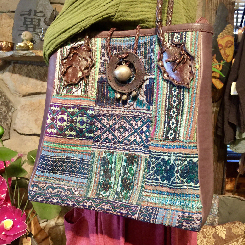 Hmong Hill Tribe Fabric Tote Bag | Leather & Vintage Textiles | Thai Handmade
