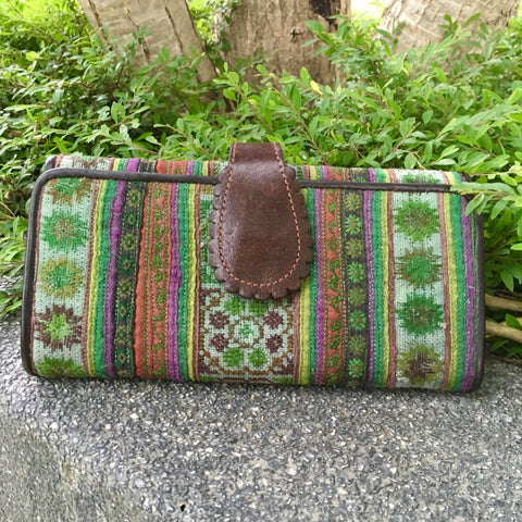 Hmong Hill Tribe Long Wallet | Leather & Vintage Fabric | Handmade