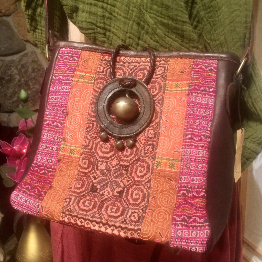 Hmong Hill Tribe Shoulder Bag | Vintage Fabric & Leather | Handmade