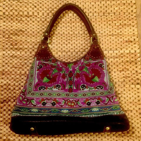 Hmong Hill Tribe Tote Bag | Leather & Vintage Textiles | Handmade in Thailand