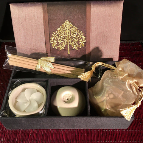Incense Candle Gift Box Set | Tree of Life Thai Silk Brown Box