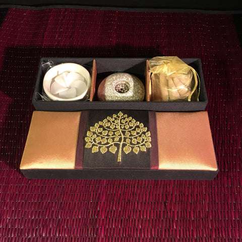 Incense | Candle Gift Set in Gold Thai Silk Tree of Life Box - Neroli scent