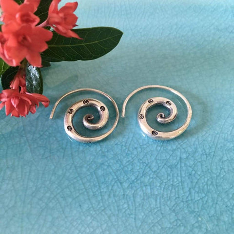 Karen Hill Tribe Silver Earrings | Spiral | Handmade Thailand 98.5 Silver