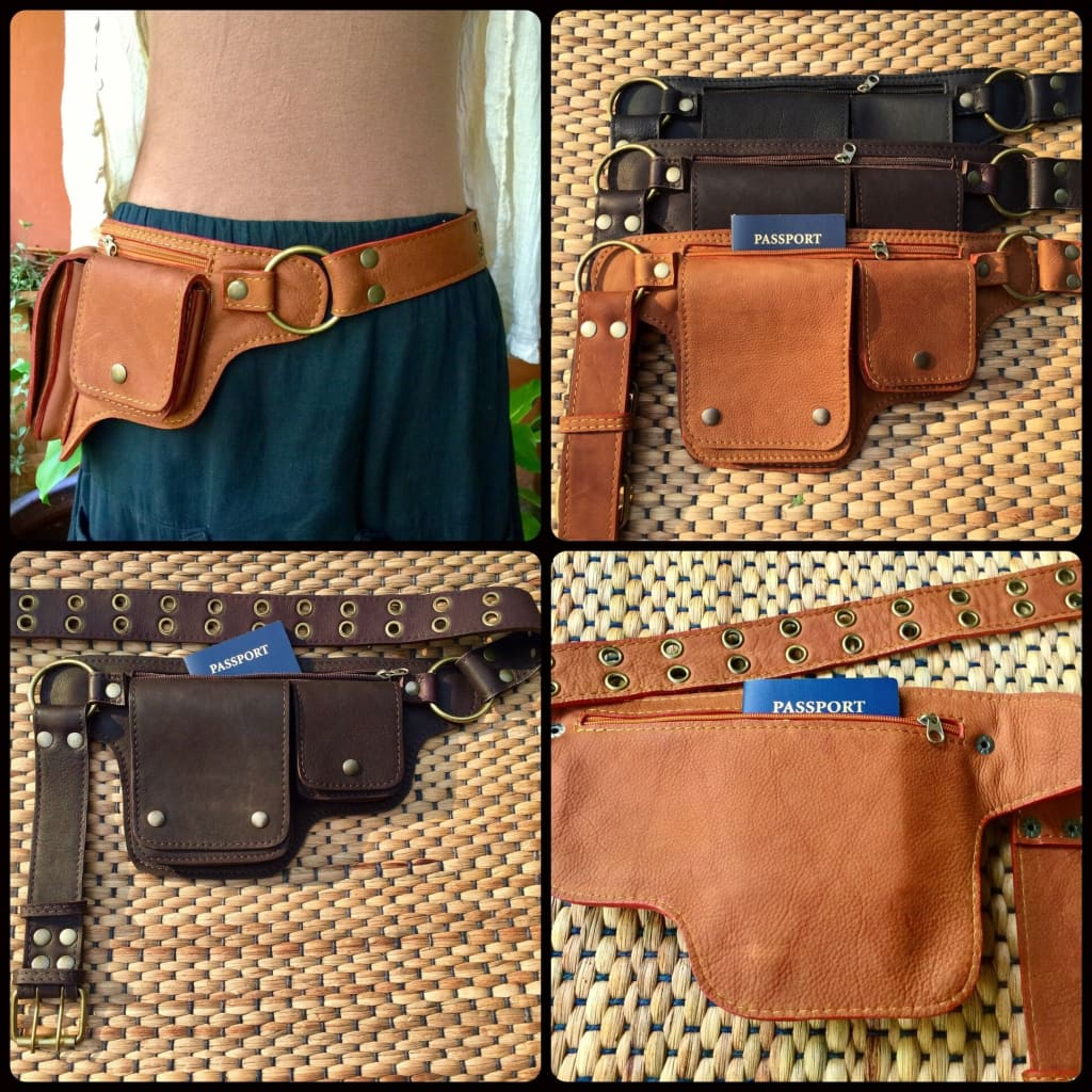 Leather Belt Bag | Fanny Pack | Travel Utility Belt Purse | Waist Bag - The Hipster - Leather Utility Belt