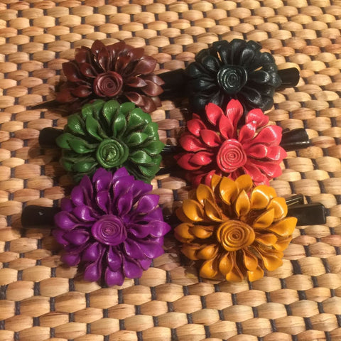 Leather Flower Hair Clip / Clamp | Dahila | Thai Handmade