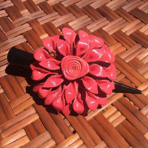 Leather Flower Hair Clip | Coral Pink Dahlia | Thai Handmade