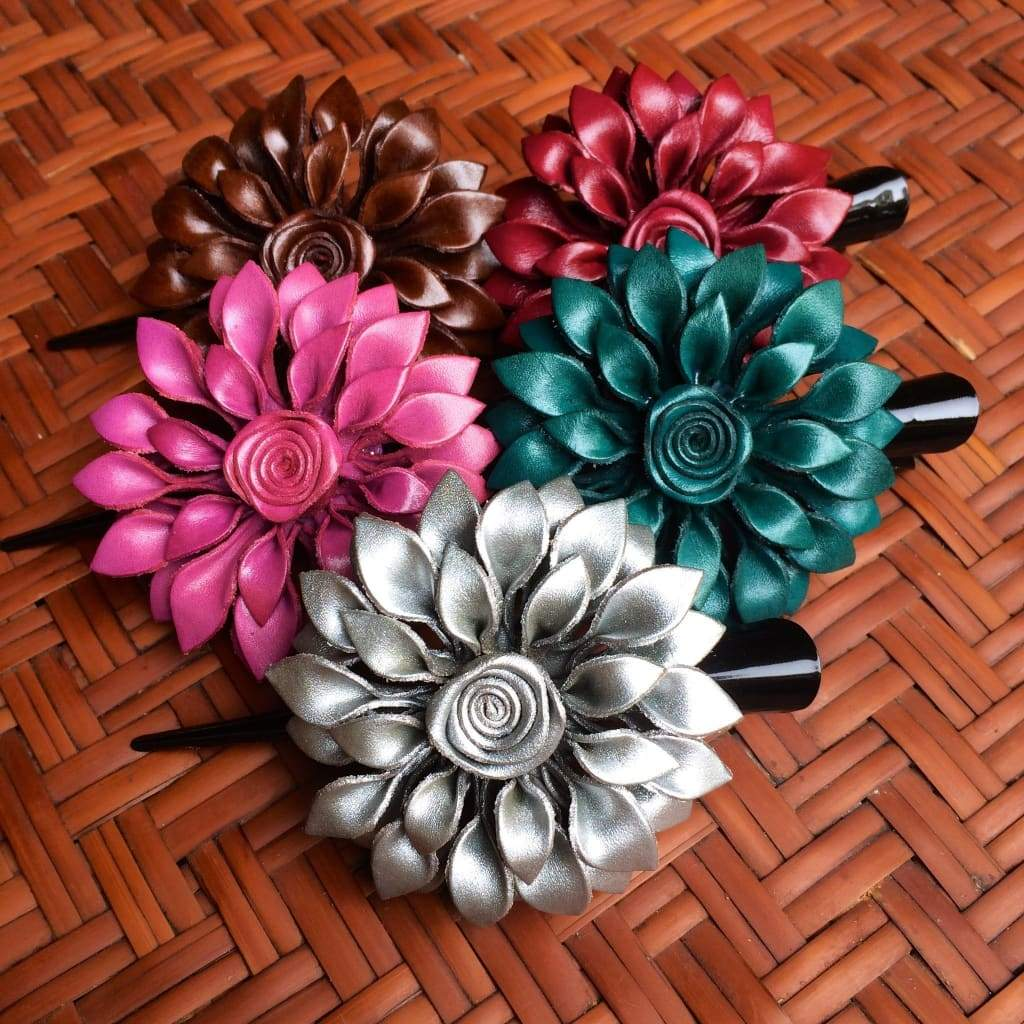 Leather Flower Hair Clip - Dahila - Handmade In Thailand - Leather Flower Hair Clip
