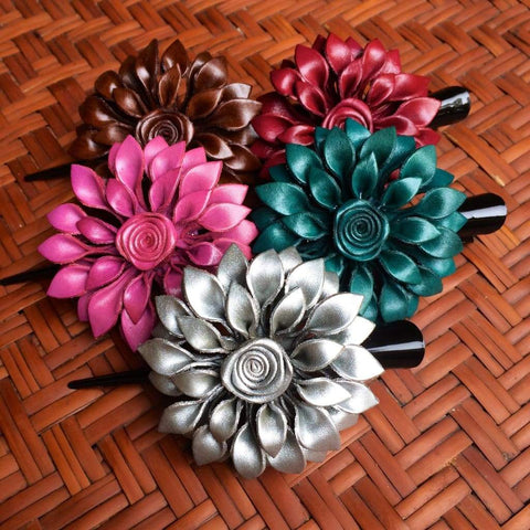 Leather Flower Hair Clip - Dahila - Handmade in Thailand