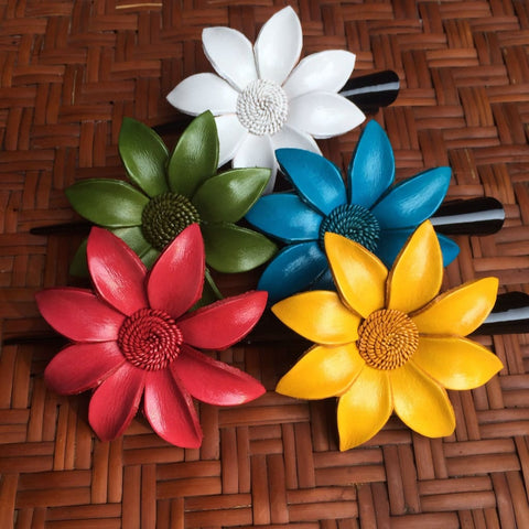 Leather Flower Hair Clip - Daisy