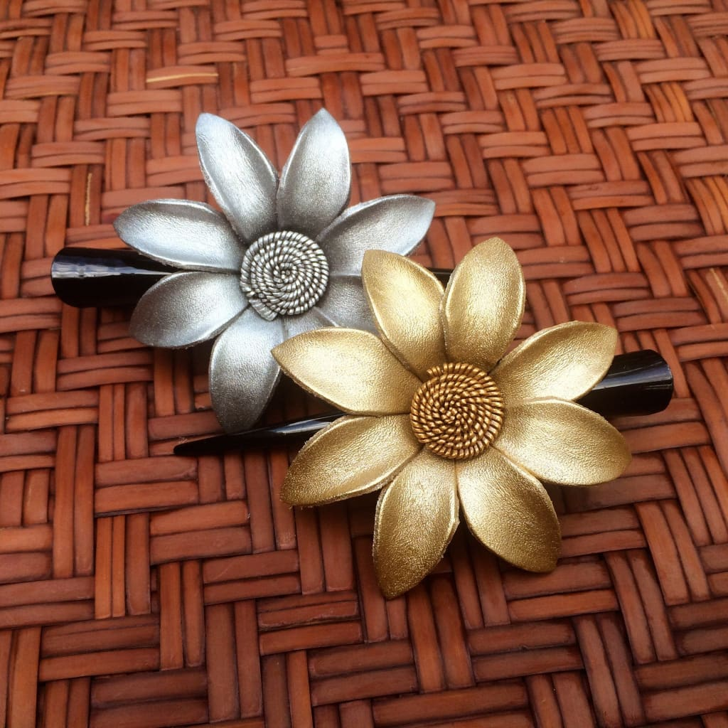 Leather Flower Hair Clip - Silver And Gold Daisy - Leather Flower Hair Clip