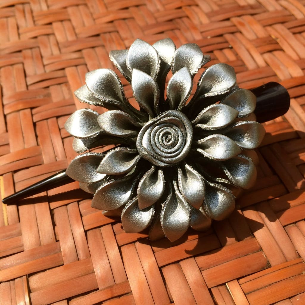 Leather Flower Hair Clip - Silver Dahlia - Clamp - Silver - Leather Flower Hair Clip