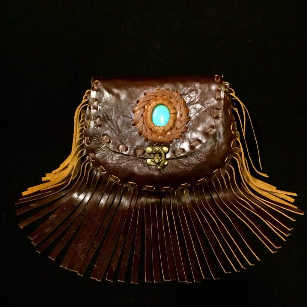 Leather Fringe Purse / Shoulder Crossbody Bag / Stone & Stitchwork-Thai Artist Collective