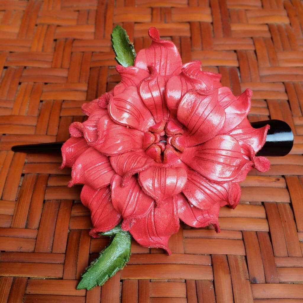 Leather Hair Clip | Gardenia Flower | Coral Pink - Leather Flower Hair Clip