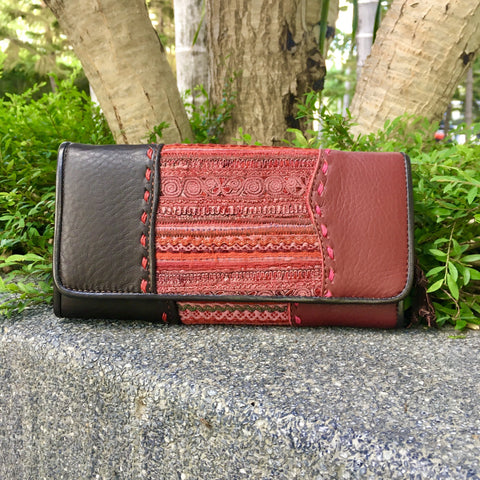 Leather Long Wallet | Hmong Hill Tribe Fabric